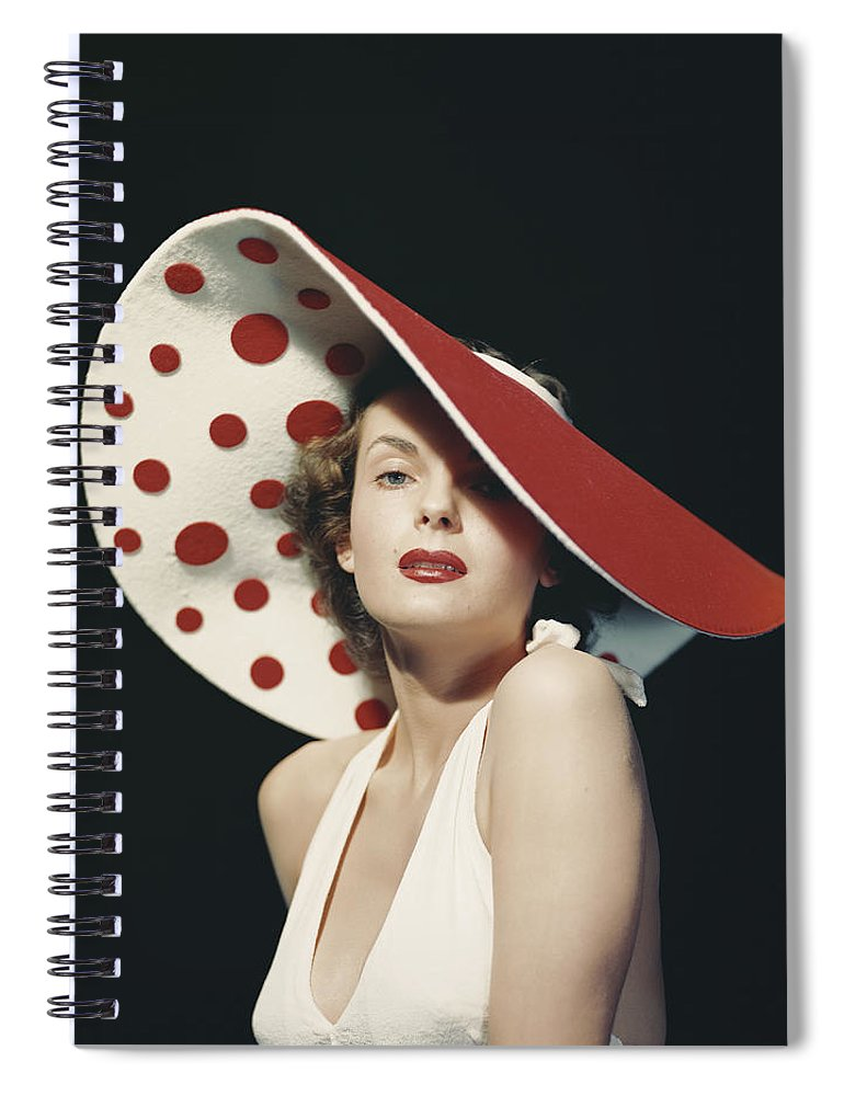 People Spiral Notebook featuring the photograph Woman Wearing Large Spotted Hat by Tom Kelley Archive