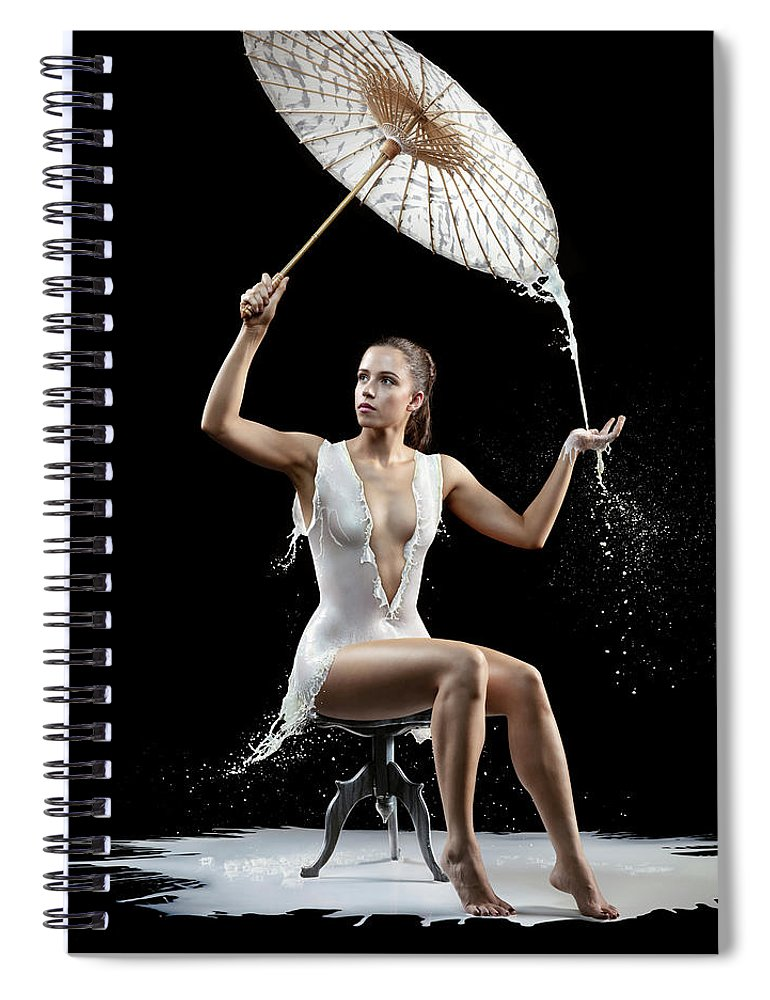 Woman Spiral Notebook featuring the photograph Woman With Milk Dress by Johan Swanepoel