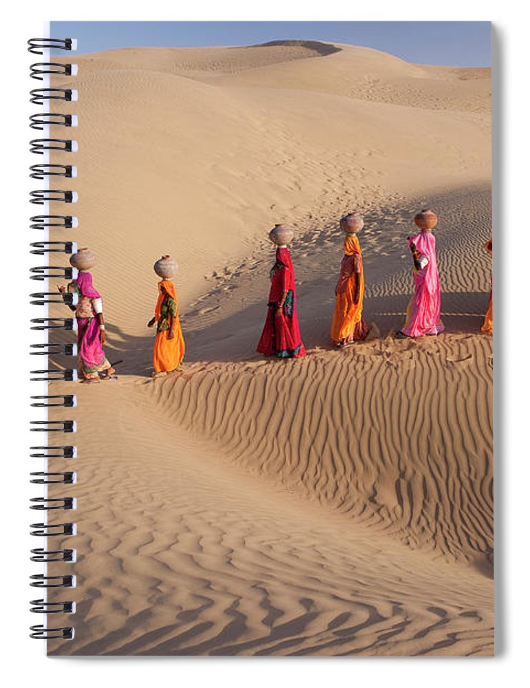 People Spiral Notebook featuring the photograph Women Fetching Water From The Sparse by Mint Images - Art Wolfe