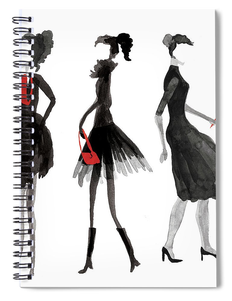 People Spiral Notebook featuring the digital art Women Silhouettes by Catarina Bessell