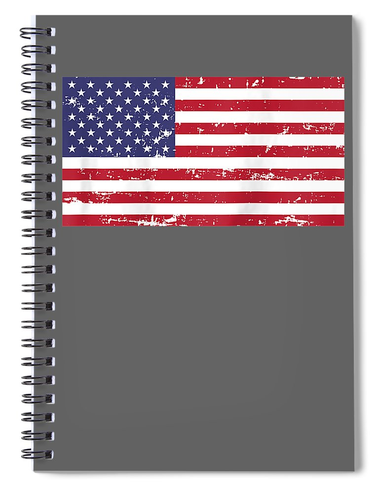 Spiral Notebook featuring the digital art Womens Vintage American Flag 4th Of July Patriotic Independence Raglan Baseball Tee by Do David