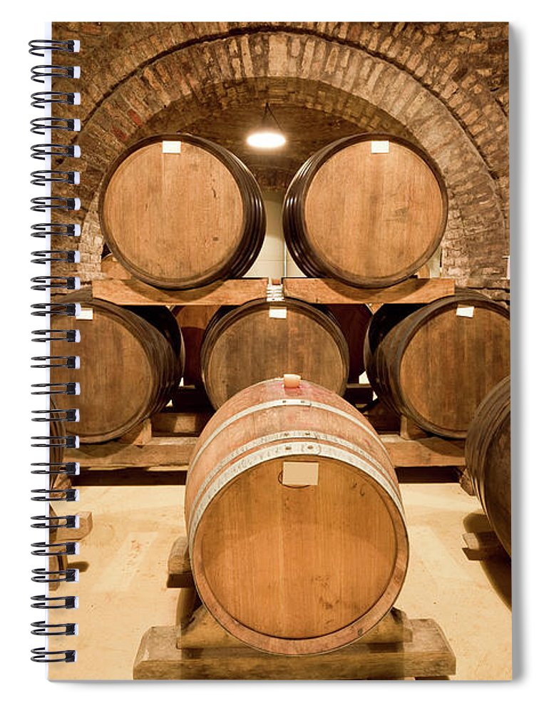 Arch Spiral Notebook featuring the photograph Wooden Barrels In Wine Cellar by Benedek