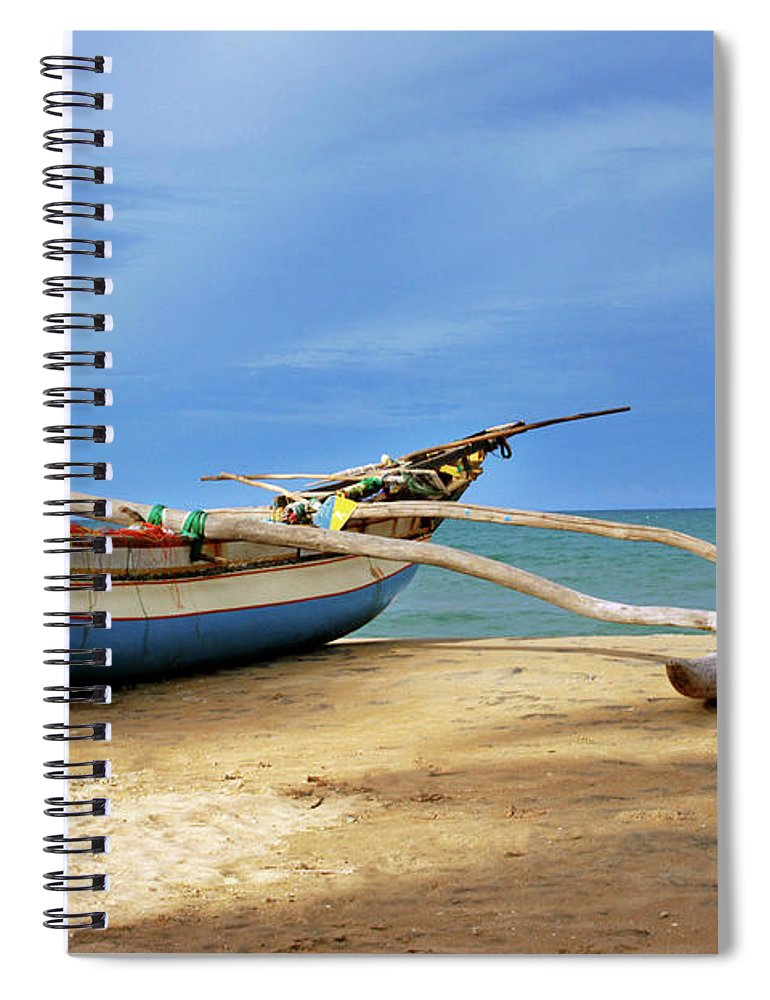 Tranquility Spiral Notebook featuring the photograph Wooden Catamaran By The Sea Shore by Juavenita Alphonsus