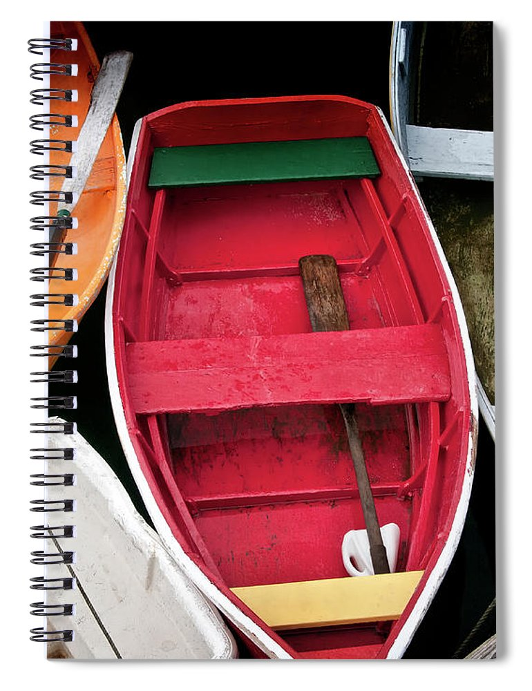 Transportation Spiral Notebook featuring the photograph Wooden Rowboats Xi by Rachel Perry