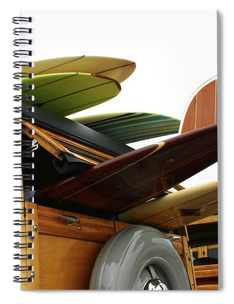 Adolescence Spiral Notebook featuring the photograph Woodies On The Wharf by Mattabbe