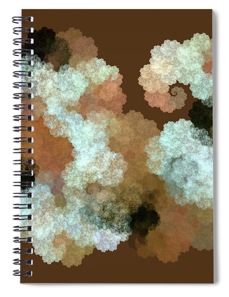 Render Spiral Notebook featuring the digital art Woolly Sheep Fractal Brown by Betsy Knapp