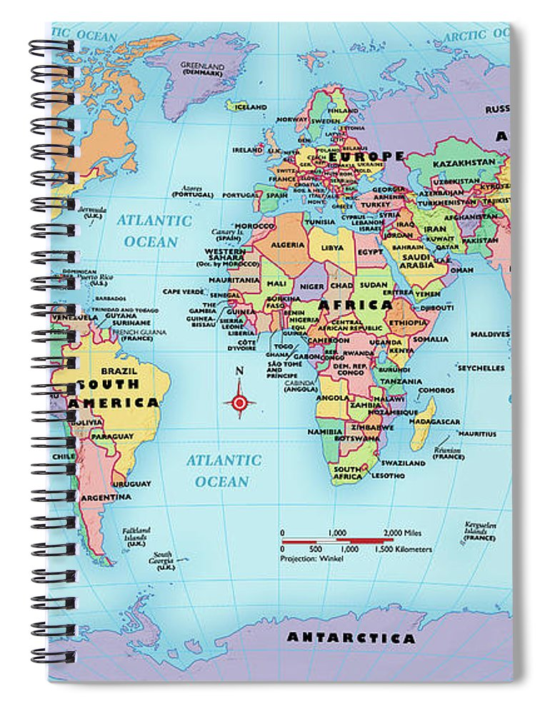 Horizontal Spiral Notebook featuring the digital art World Map, Continent And Country Labels by Globe Turner, Llc