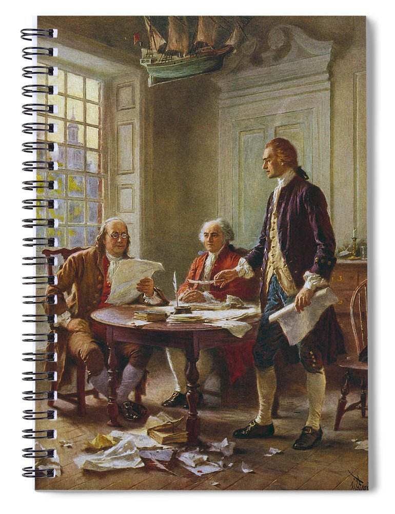 Declaration Of Independence Spiral Notebook featuring the painting Writing The Declaration of Independence by War Is Hell Store