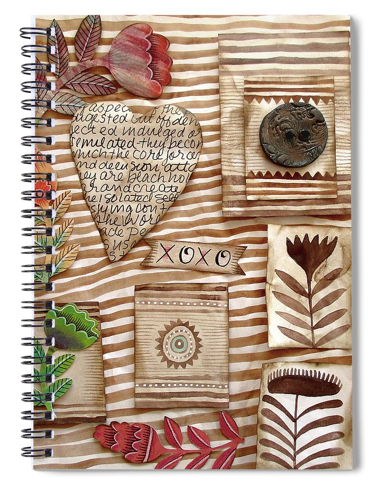 Heart Spiral Notebook featuring the mixed media Xoxo by Elaine Jackson