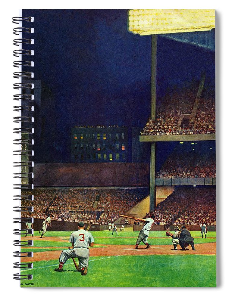 Baseball Spiral Notebook featuring the drawing Yankee Stadium by John Falter