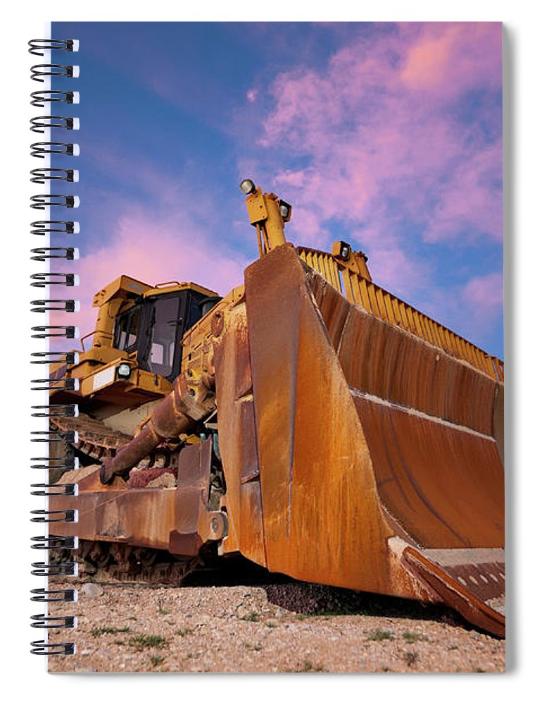 Toughness Spiral Notebook featuring the photograph Yellow Bulldozer Working At Sunset by Wesvandinter