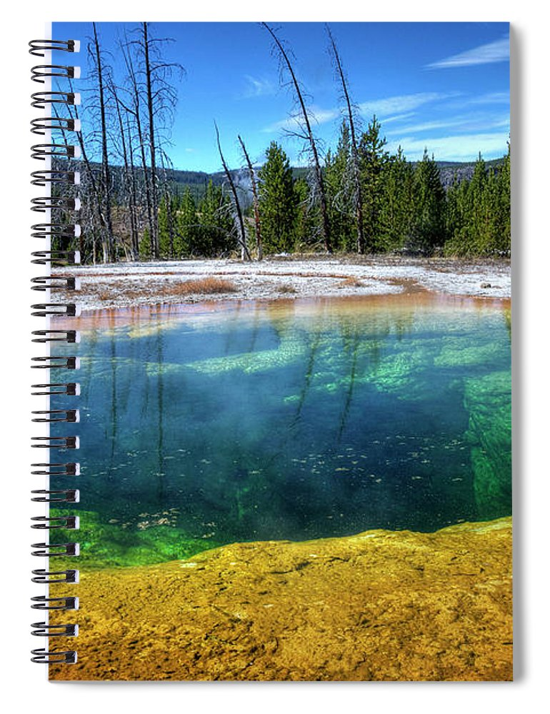 Morning Glory Pool Spiral Notebook featuring the photograph Yellowstone Hot Spring by Dbushue Photography