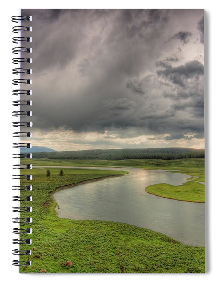 Scenics Spiral Notebook featuring the photograph Yellowstone River In Hayden Valley by Kevin A Scherer