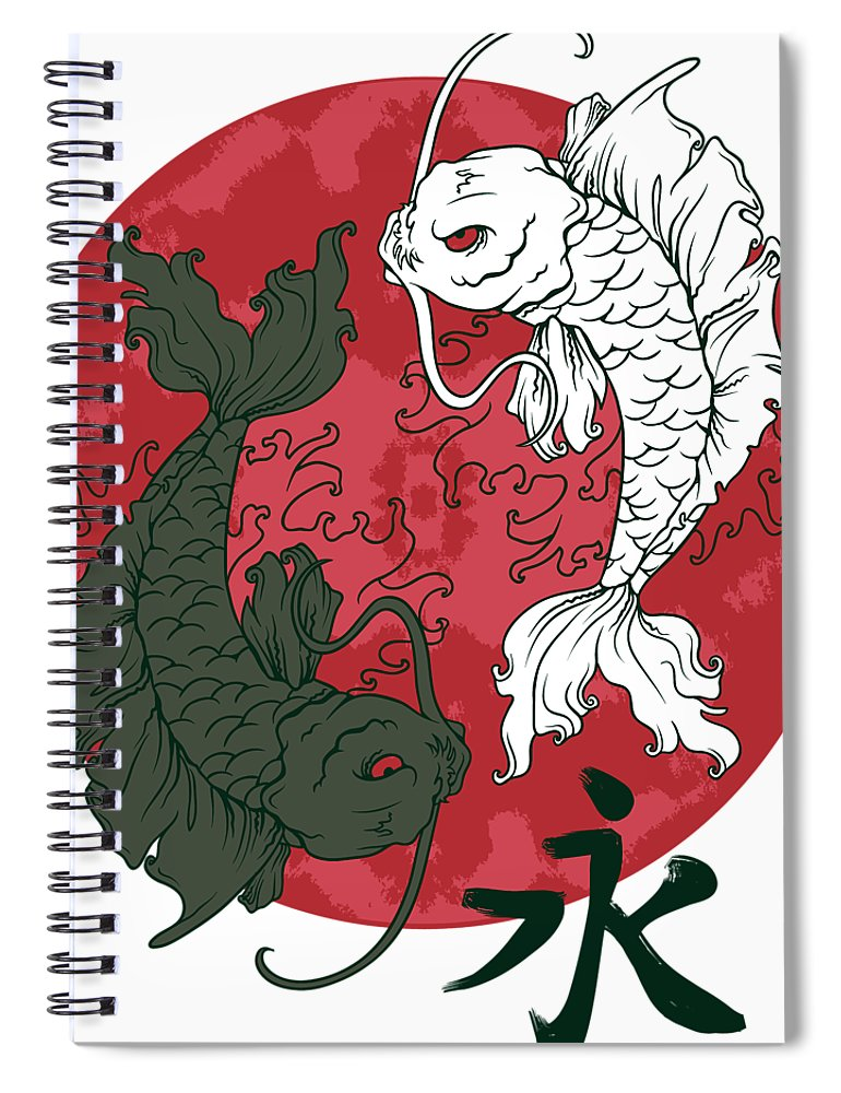 Japanese Spiral Notebook featuring the digital art Yin Yang Koi Fish by Passion Loft