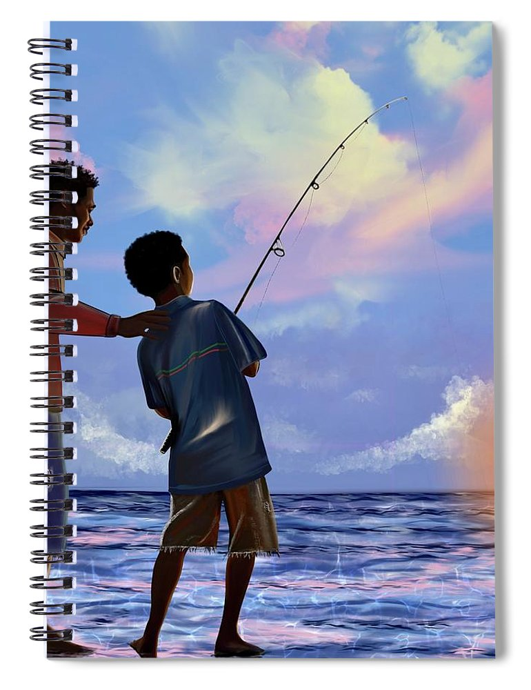 Fishing Spiral Notebook featuring the digital art You make Him proud by Artist RiA