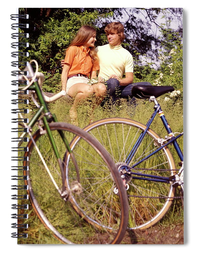 Heterosexual Couple Spiral Notebook featuring the photograph Young Adults Teenagers Field Date Bikes by H. Armstrong Roberts