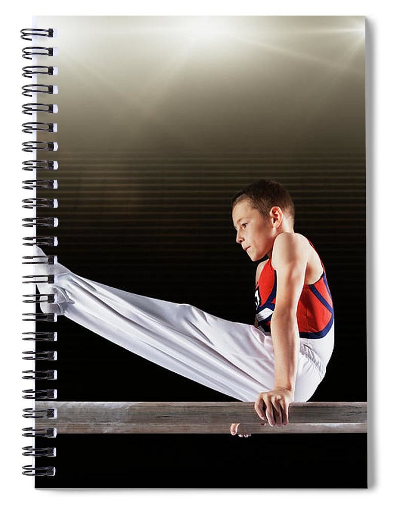 Focus Spiral Notebook featuring the photograph Young Male Gymnast Performing On by Robert Decelis Ltd