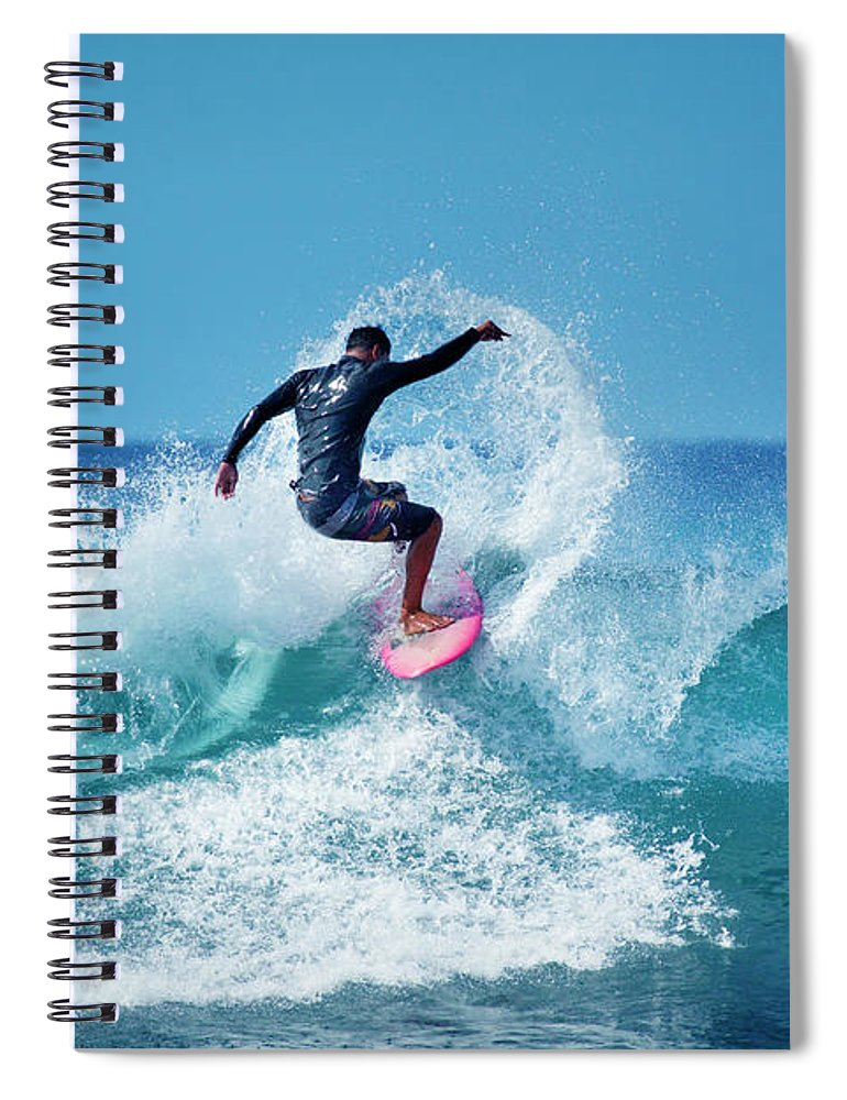 Young Men Spiral Notebook featuring the photograph Young Male Surfer Surfing In The Water by Yinyang