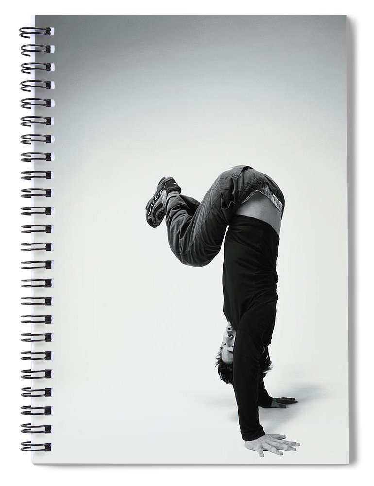 Youth Culture Spiral Notebook featuring the photograph Young Man Breakdancing B&w by Karen Moskowitz