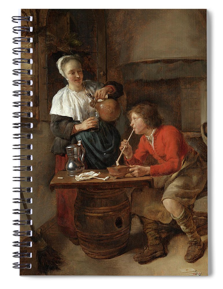 Gabriel Metsu Spiral Notebook featuring the painting Young Man Smoking And A Woman Pouring Beer by Gabriel Metsu