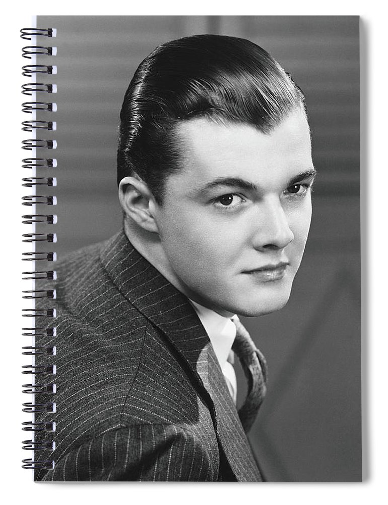 Young Men Spiral Notebook featuring the photograph Young Man Wearing Pinstripe Jacket by George Marks