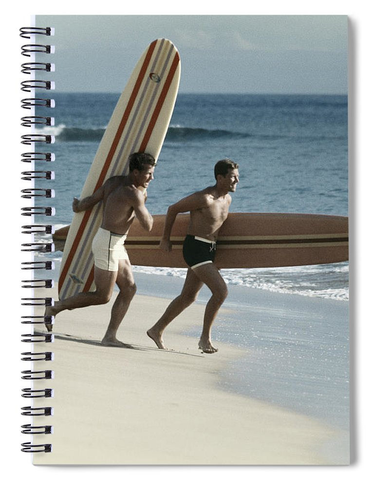 People Spiral Notebook featuring the photograph Young Men Running On Beach With by Tom Kelley Archive