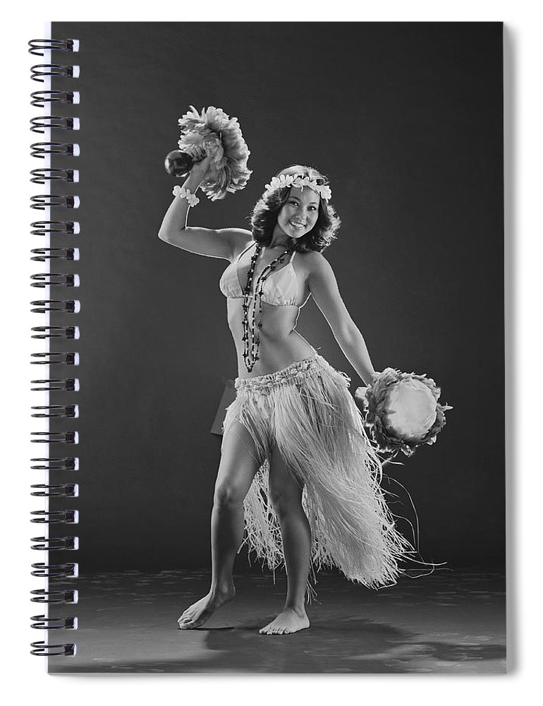 People Spiral Notebook featuring the photograph Young Woman Hula Dancer With Feathered by Tom Kelley Archive