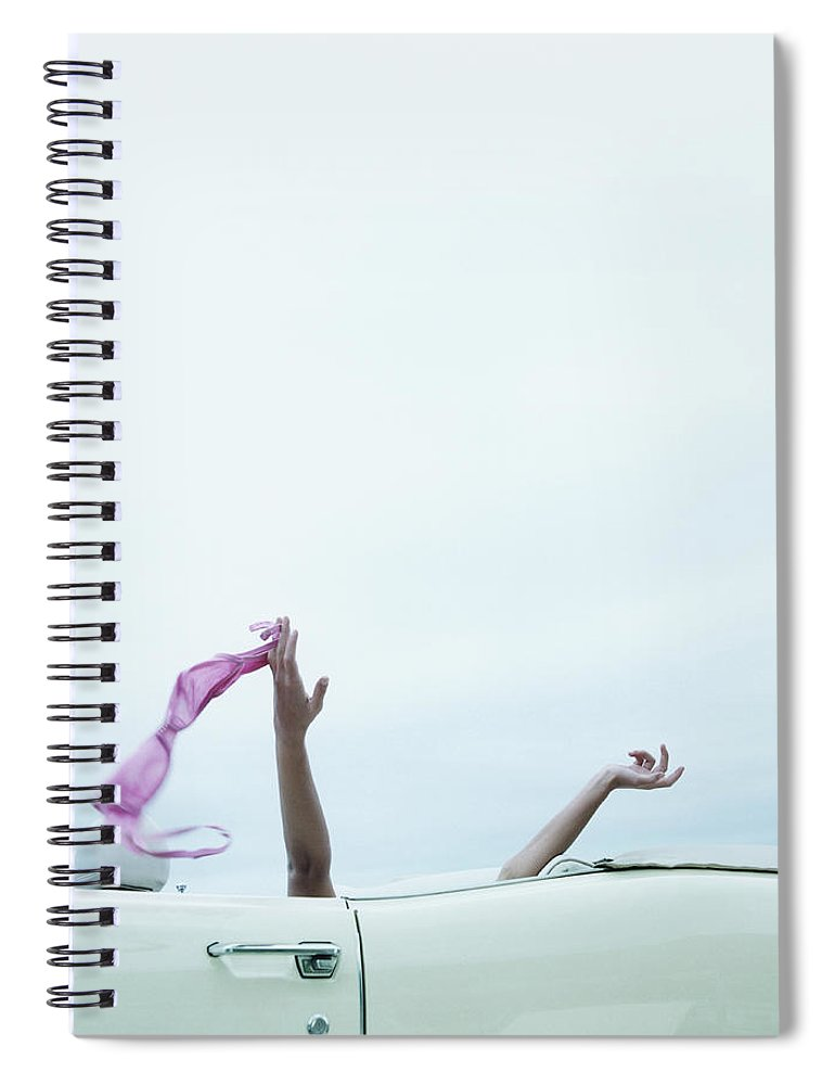 Young Men Spiral Notebook featuring the photograph Young Woman In Convertible Car, Arms by Jerome Tisne