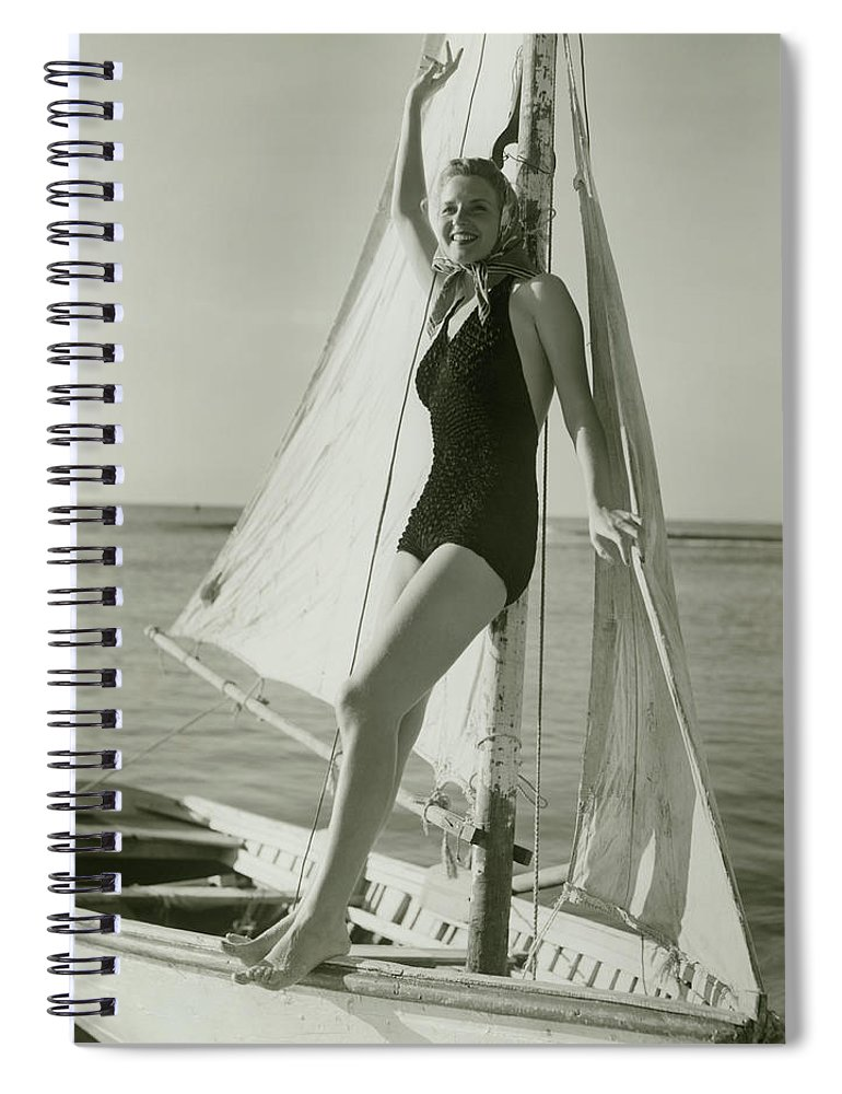 Human Arm Spiral Notebook featuring the photograph Young Woman Posing On Sailboat by George Marks