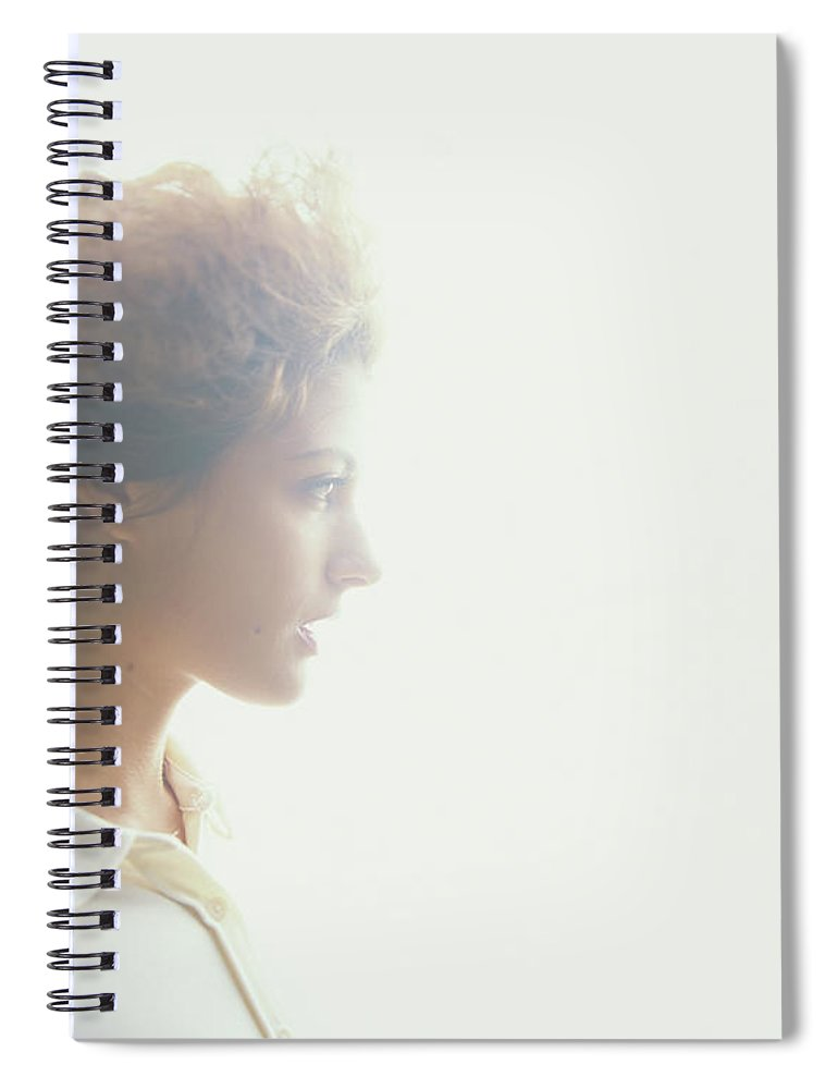 Beautiful Woman Spiral Notebook featuring the photograph Young Woman, Profile Soft Focus by Thomas Barwick