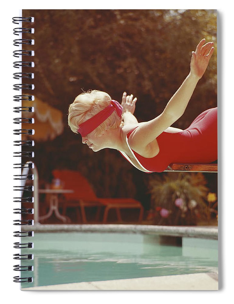 Human Arm Spiral Notebook featuring the photograph Young Woman With Blindfold Balancing On by Tom Kelley Archive