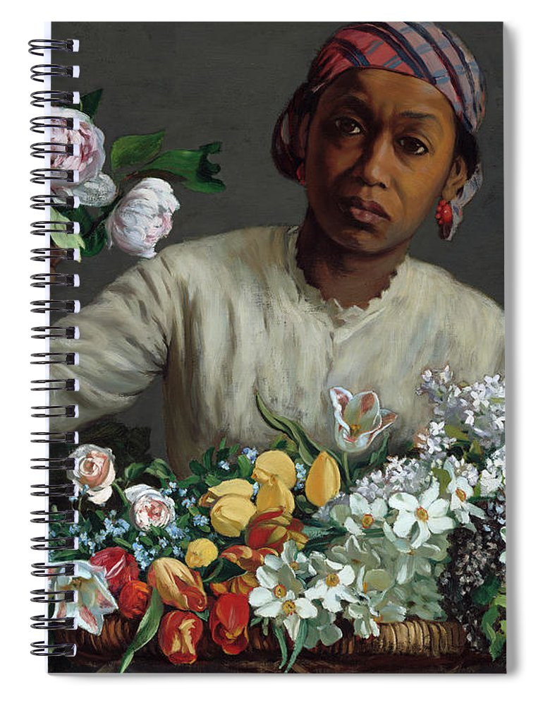 Frederic Bazille Spiral Notebook featuring the painting Young Woman With Peonies, 1870 by Frederic Bazille