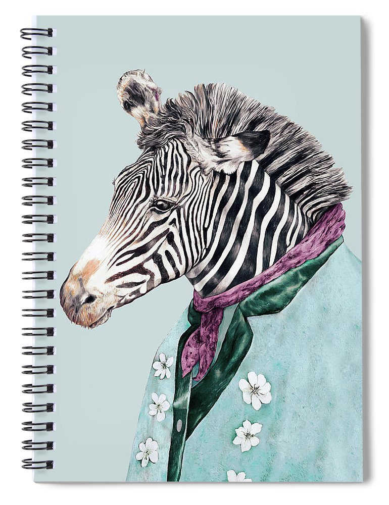 Boho Spiral Notebook featuring the painting Zebra Blue by Animal Crew