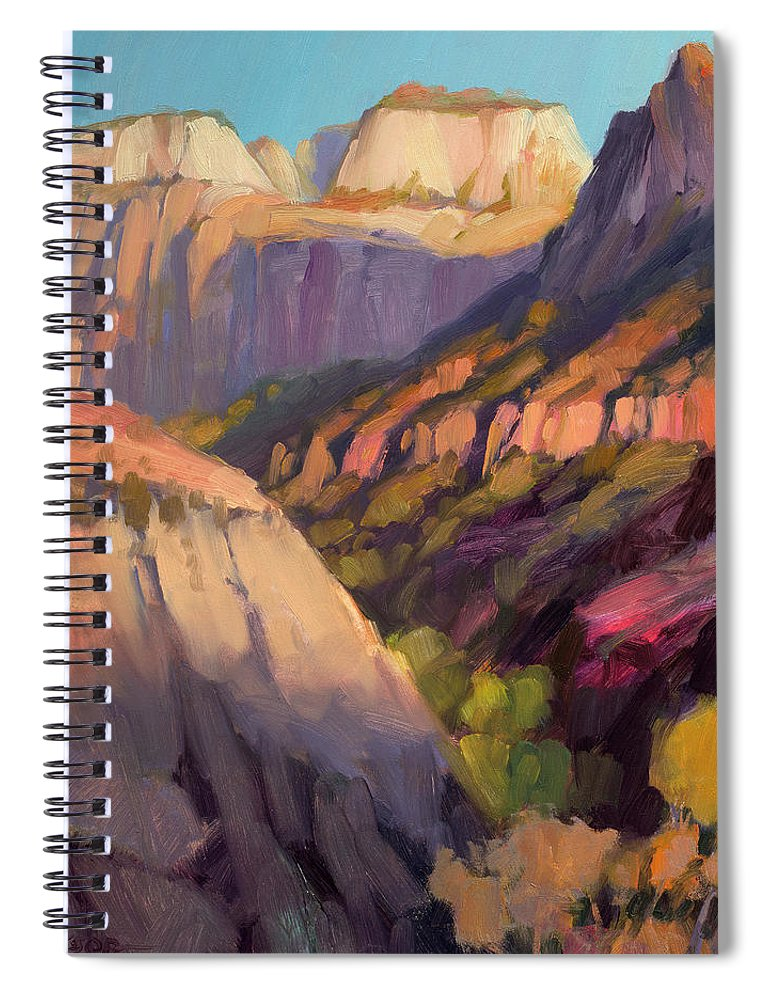 Zion Spiral Notebook featuring the painting Zion's West Canyon by Steve Henderson