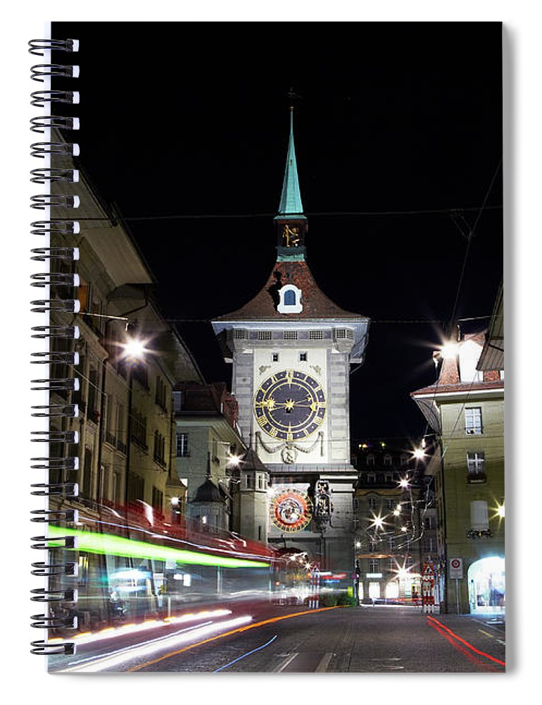 Clock Tower Spiral Notebook featuring the photograph Zytglogge Tower At Night by Allan Baxter