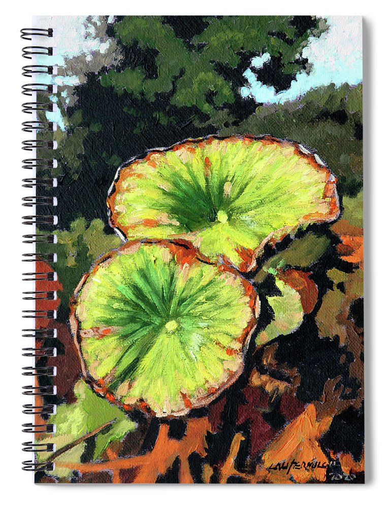 Lotus Leaves Spiral Notebook featuring the painting Autumn Lotus Leaves by John Lautermilch