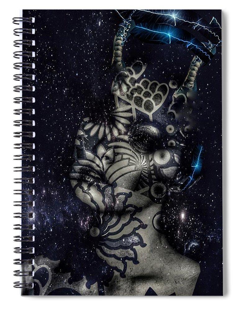 Surrealism Spiral Notebook featuring the digital art Celestial being by Gunilla Munro Gyllenspetz