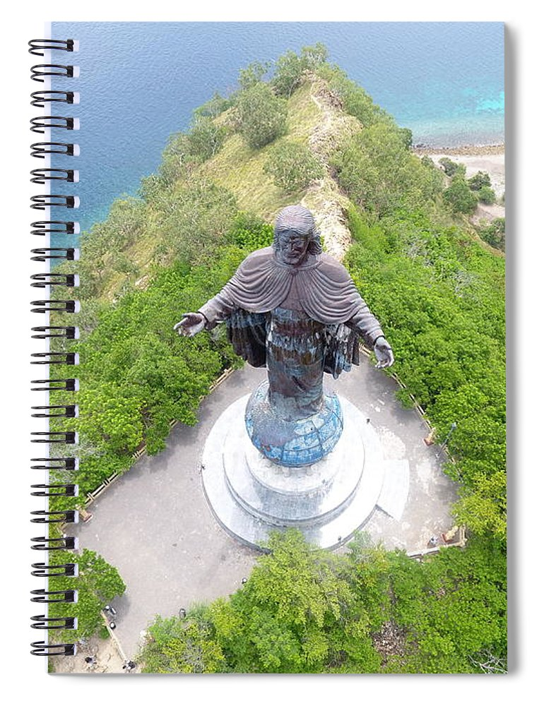 Travel Spiral Notebook featuring the photograph Cristo Rei of Dili statue of Jesus by Brthrjhn2099