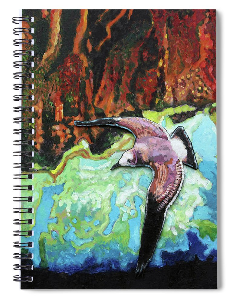 Sea Gull Spiral Notebook featuring the painting Flying High by John Lautermilch
