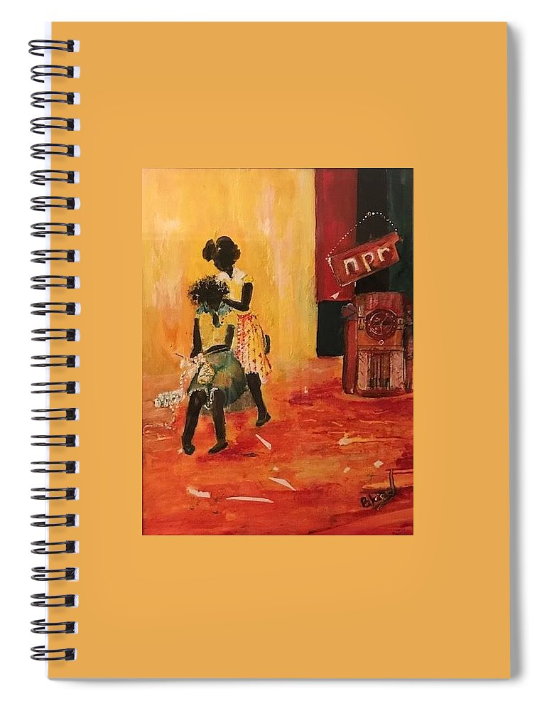 Figurative Spiral Notebook featuring the painting Grooving by Peggy Blood