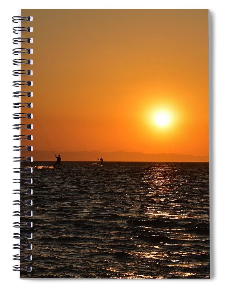 Kitesurfing Spiral Notebook featuring the photograph Red sea sunset by Luca Lautenschlaeger