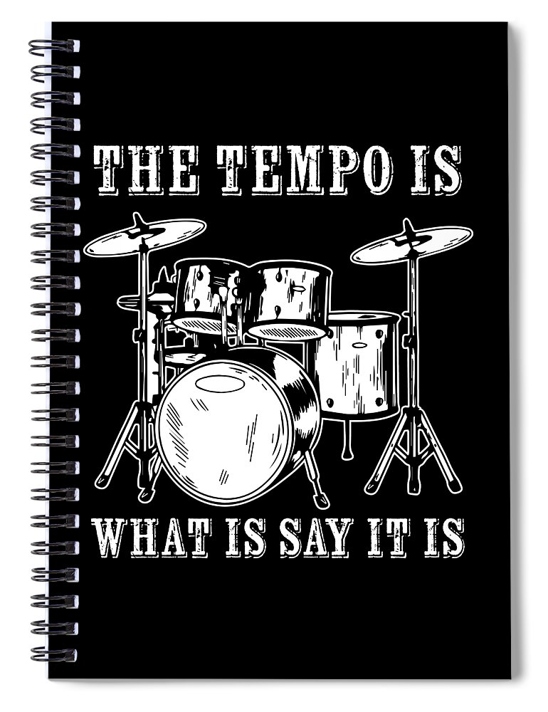 Drummer Spiral Notebook featuring the digital art Tempo Music Band Percussion Drum Set Drummer Gift by Haselshirt