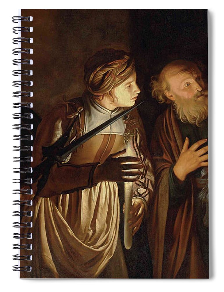 Coster Spiral Notebook featuring the painting The Denial of Saint Peter by Adam de Coster
