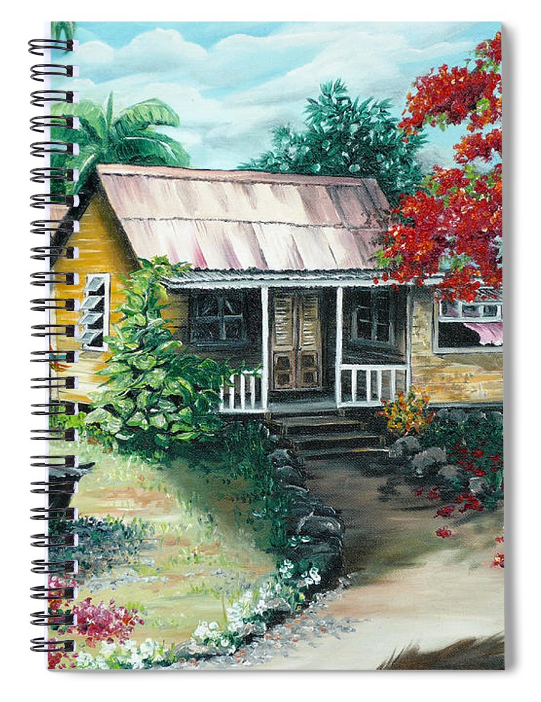 Landscape Painting Caribbean Painting Tropical Painting Island House Painting Poinciana Flamboyant Tree Painting Trinidad And Tobago Painting Spiral Notebook featuring the painting Trinidad Life by Karin Dawn Kelshall- Best