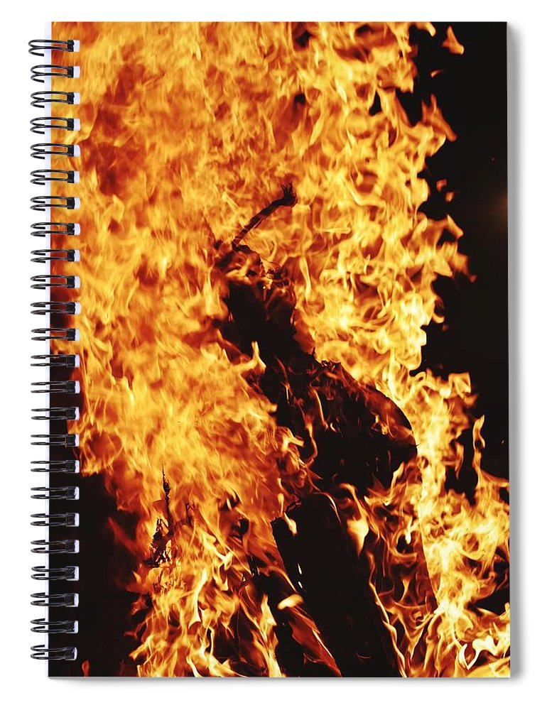 Campfire Spiral Notebook featuring the photograph Closeup of Fire at time of festival by Ravindra Kumar