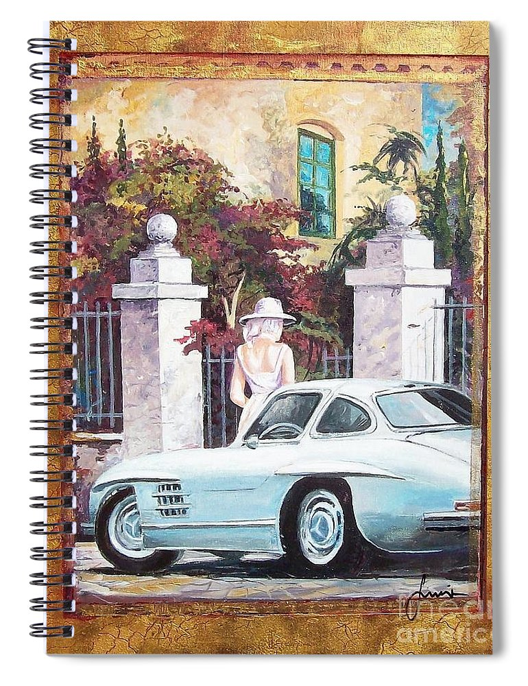 Classic Cars Paintings Spiral Notebook featuring the painting 1954 Mercedes Benz sl 300 Gullwing by Sinisa Saratlic