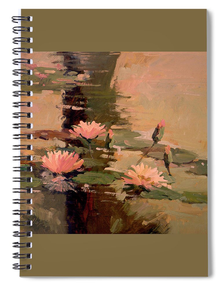 Water Lily Paintings Spiral Notebook featuring the painting Pond Blossoms - Water Lilies by Betty Jean Billups