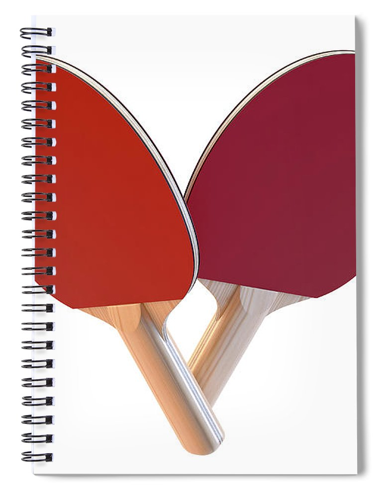 Table Tennis Spiral Notebook featuring the digital art Set Of Table Tennis Paddles by Allan Swart