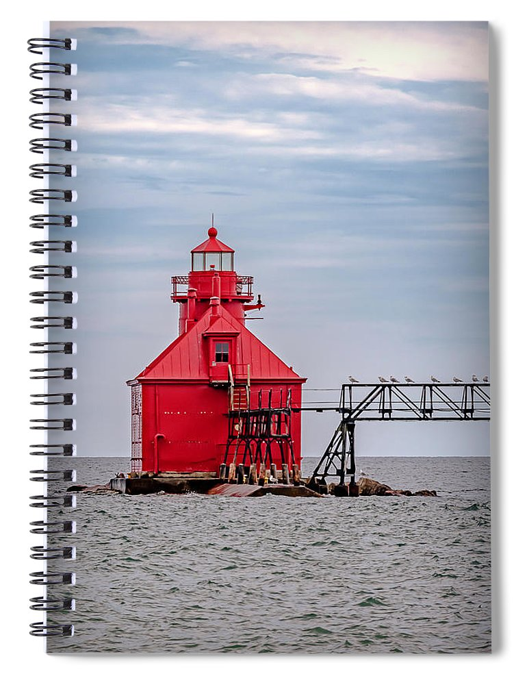 Lighthouse Spiral Notebook featuring the photograph 20-0607-0037 by Anthony Roma