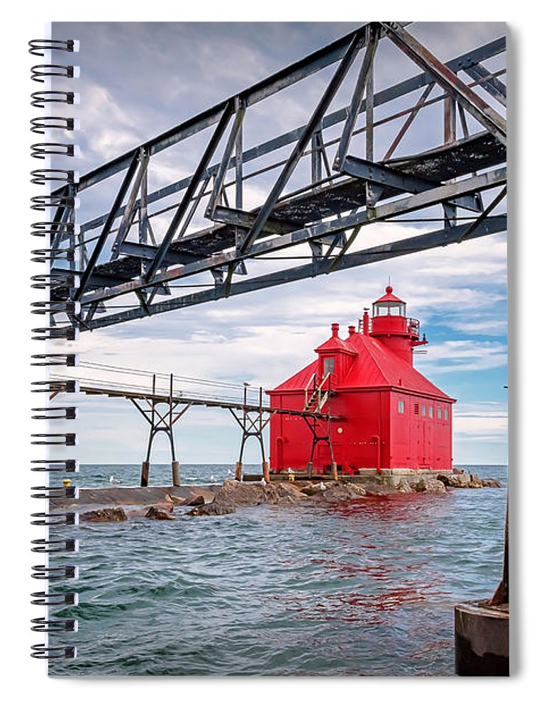 Lighthouse Spiral Notebook featuring the photograph 20-0607-0045 by Anthony Roma